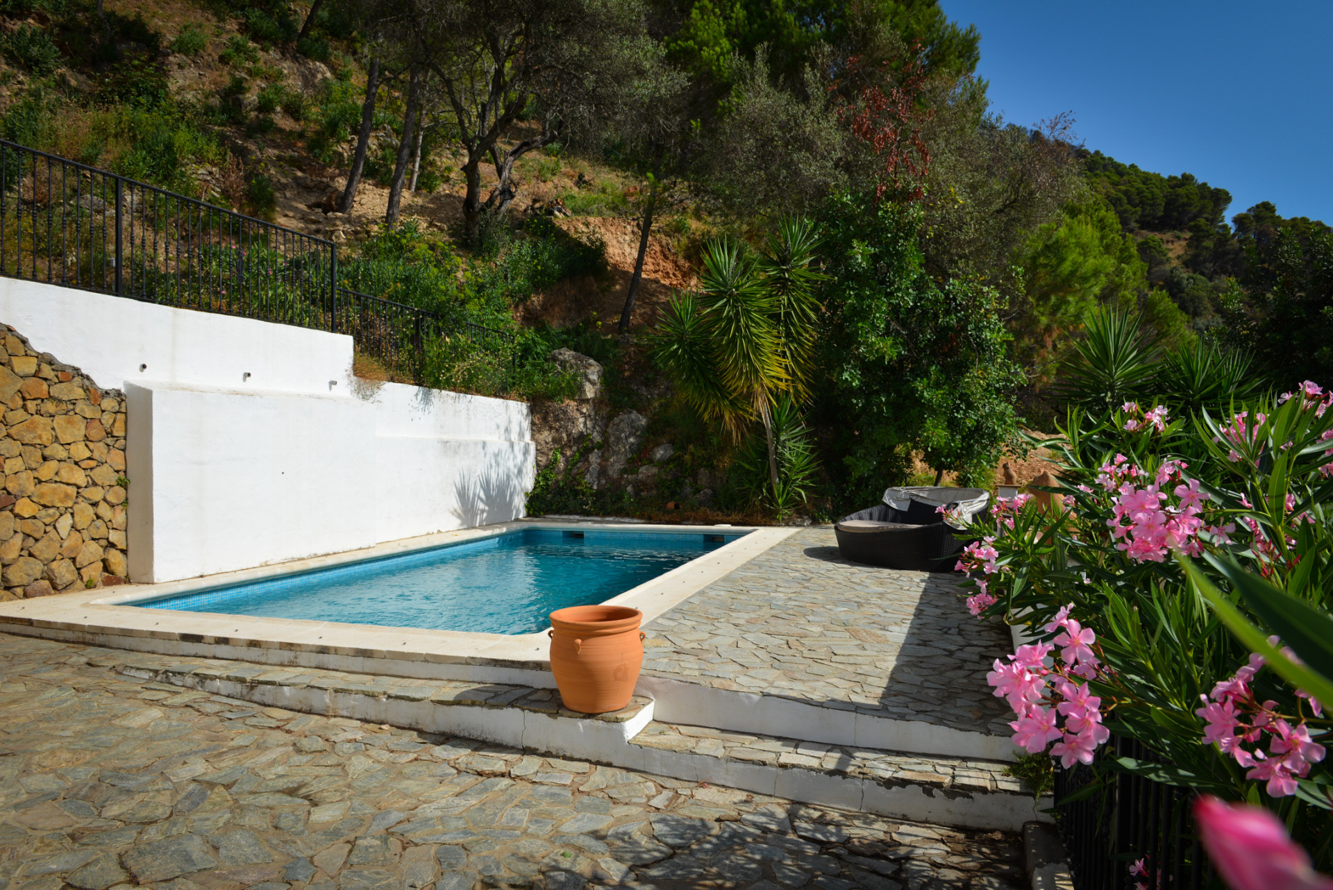 Pool area, country villa for sale, Casares